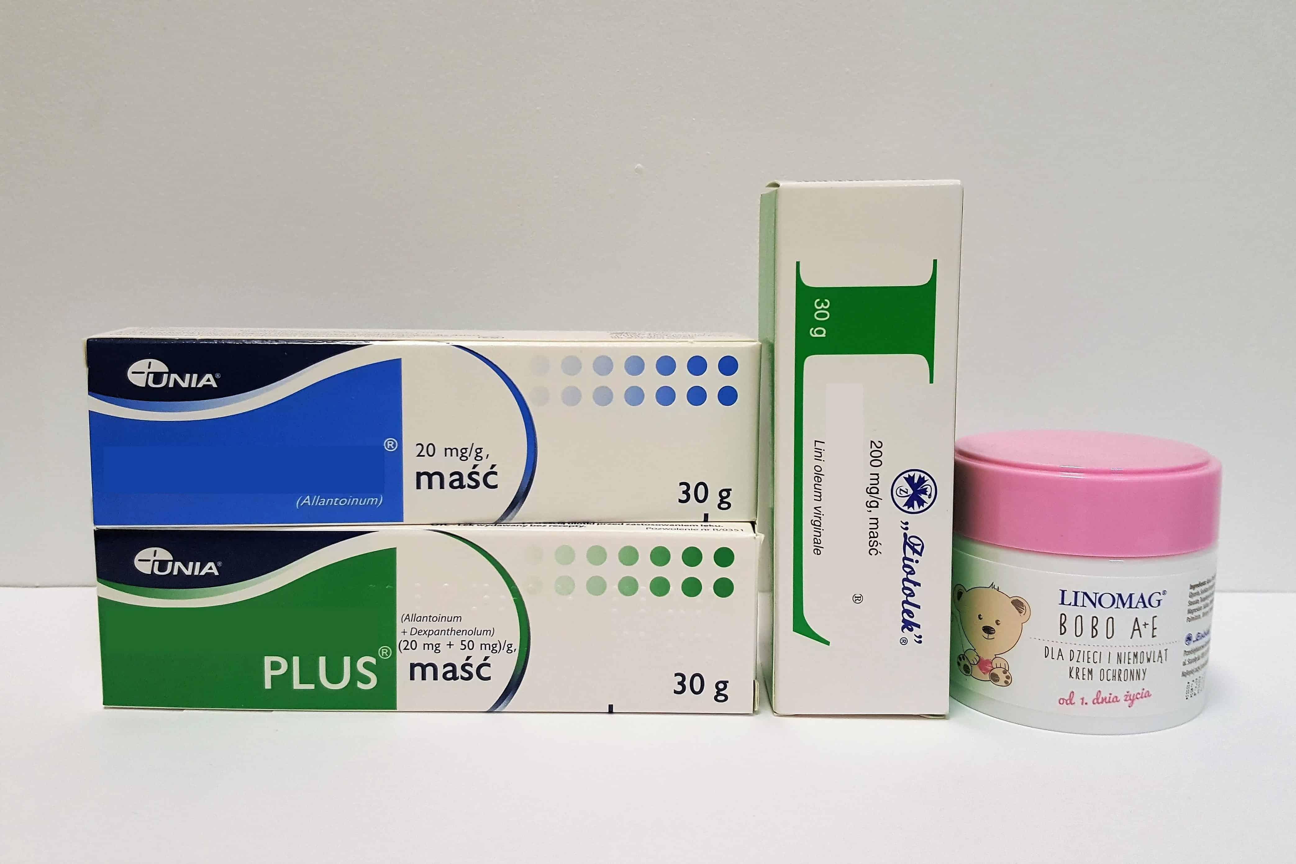 Maści ochronne napupę isuchą skórę, nawilża, regeneruje Linomag, Alantan Plus, Alantan, Linomag Bobo A+E Matka Aptekarka