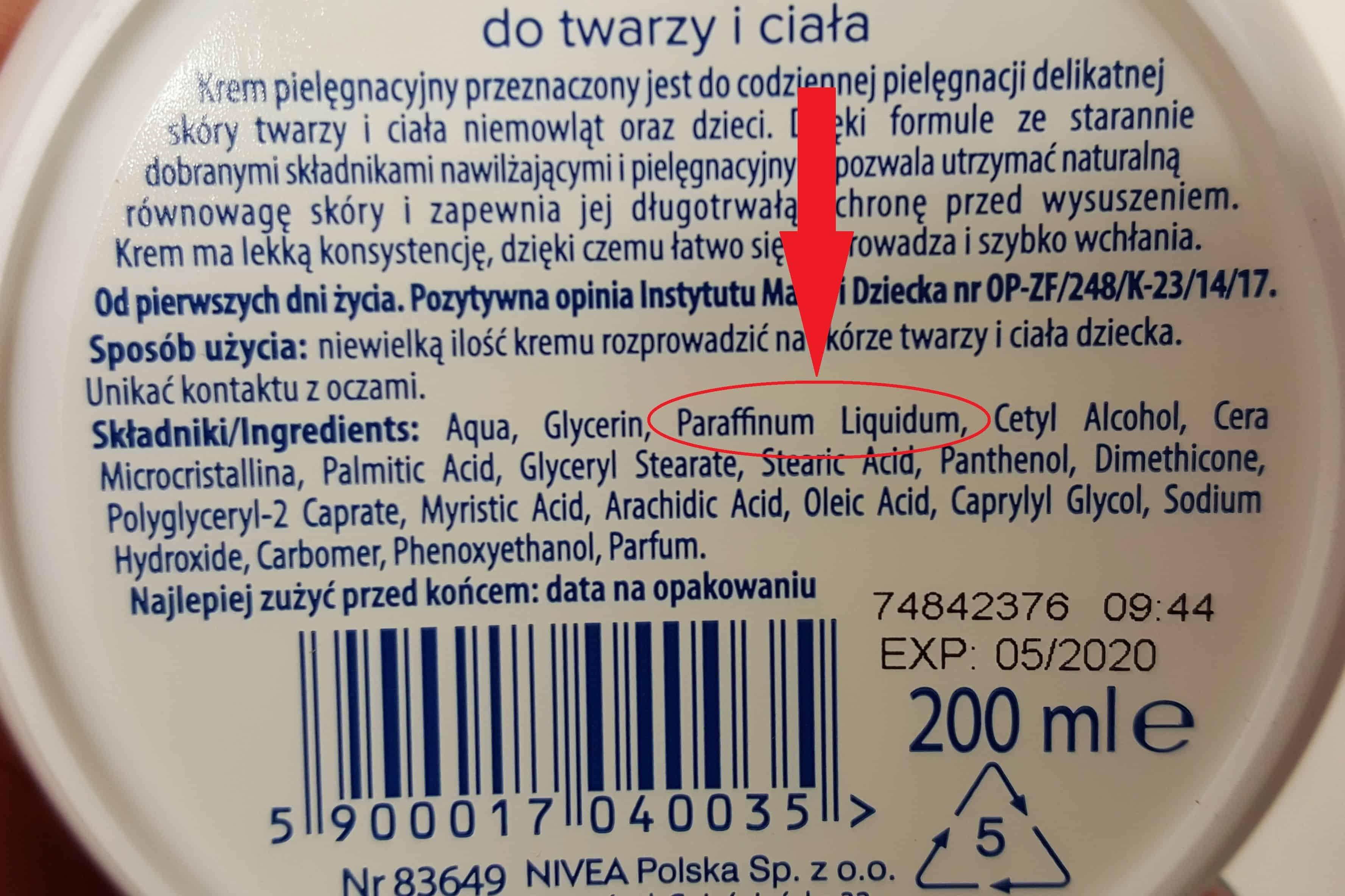 9. substancja ropopochodna Paraffinum Liquidum Parafina ciekła wkosmetykach dla dzieci iniemowląt Matka Aptekarka