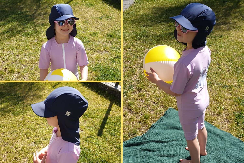 odzież UV, czapka zdaszkiem iosłoną nauszy ikark dla dziecka, zfiltrem UV, UV KIDS, odzież przeciwsłoneczna dla dzieci Matka Aptekarka