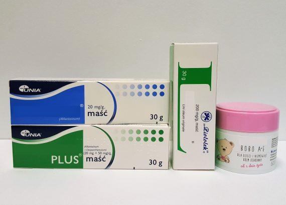 Maści ochronne na pupę i suchą skórę, nawilża, regeneruje Linomag, Alantan Plus, Alantan, Linomag Bobo A+E, Bepanthen Matka Aptekarka