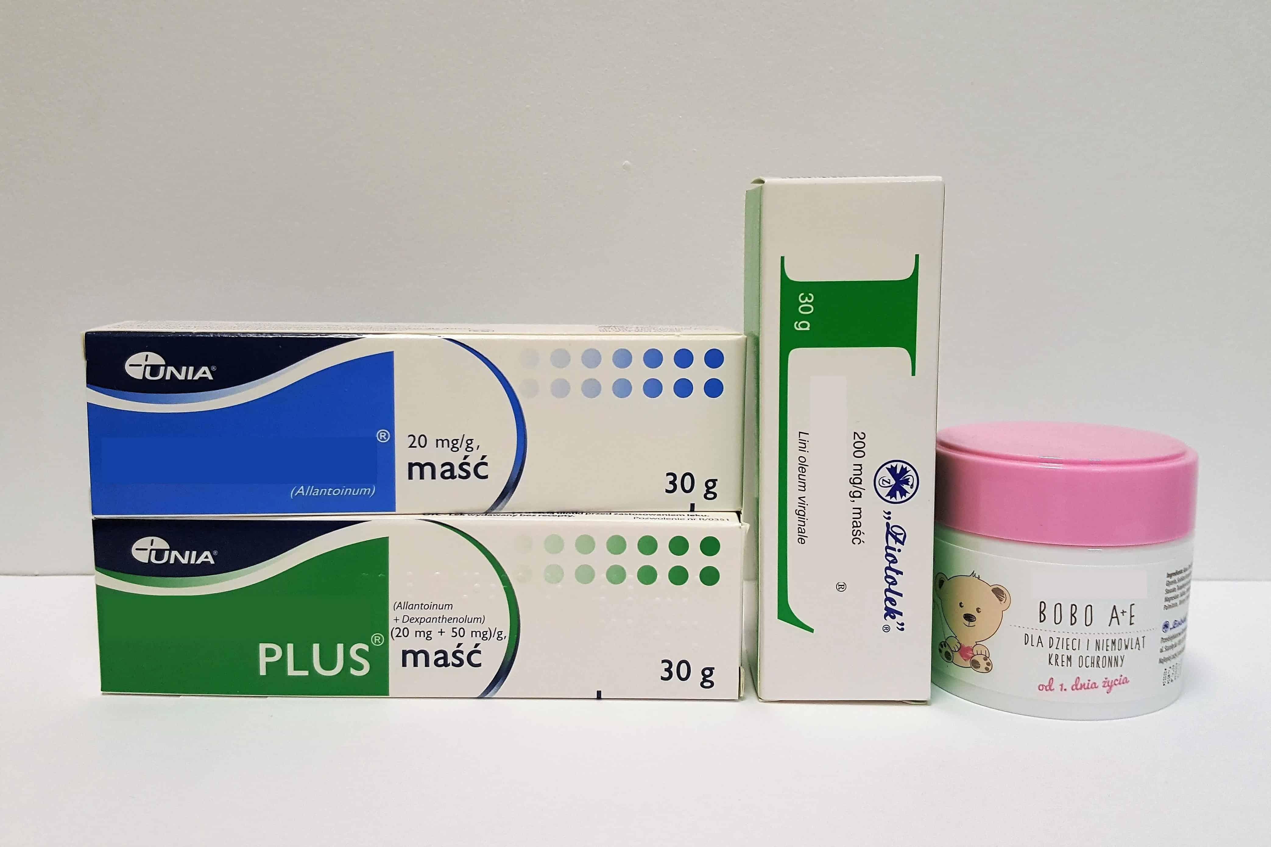 Maści ochronne napupę isuchą skórę, nawilża, regeneruje Linomag, Alantan Plus, Alantan, Linomag Bobo A+E, Bepanthen Matka Aptekarka