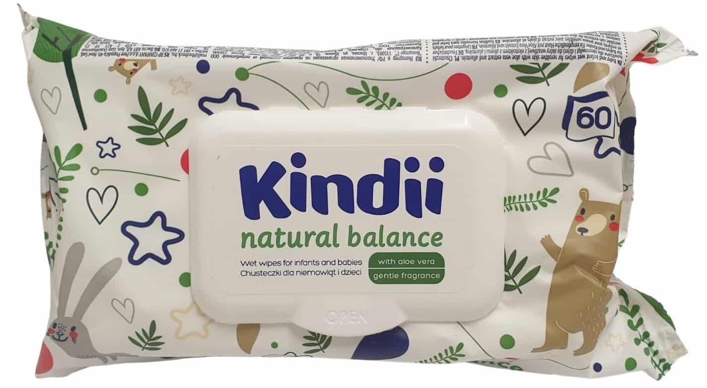 Kindii Natural Balance, chusteczki nawilżane, Matka Aptekarka