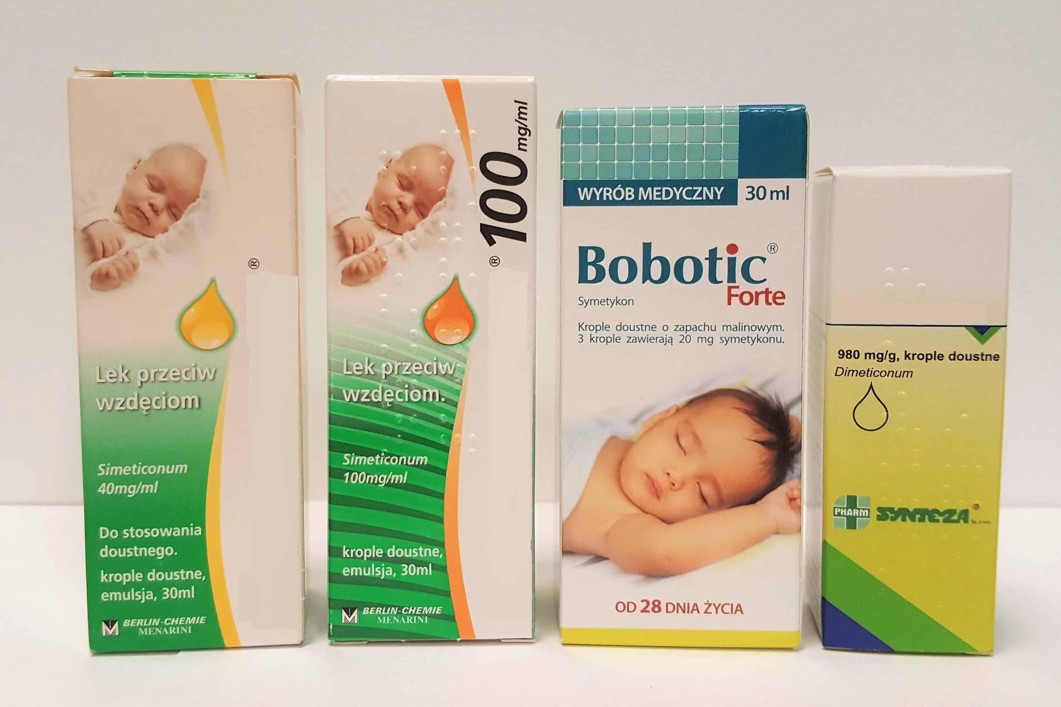 Kropelki nawzdęcia dla niemowląt idzieci Espumisan, Bobotic Forte, Esputicon, Sab Simplex, Lefax Matka Aptekarka