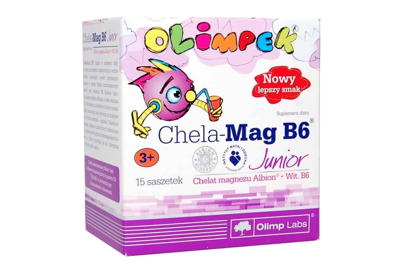 Olimp, Olimpek Chela-Mag B6 Junior, magnez dla dzieci, magnez wsaszetkach, suplement diety Matka Aptekarka