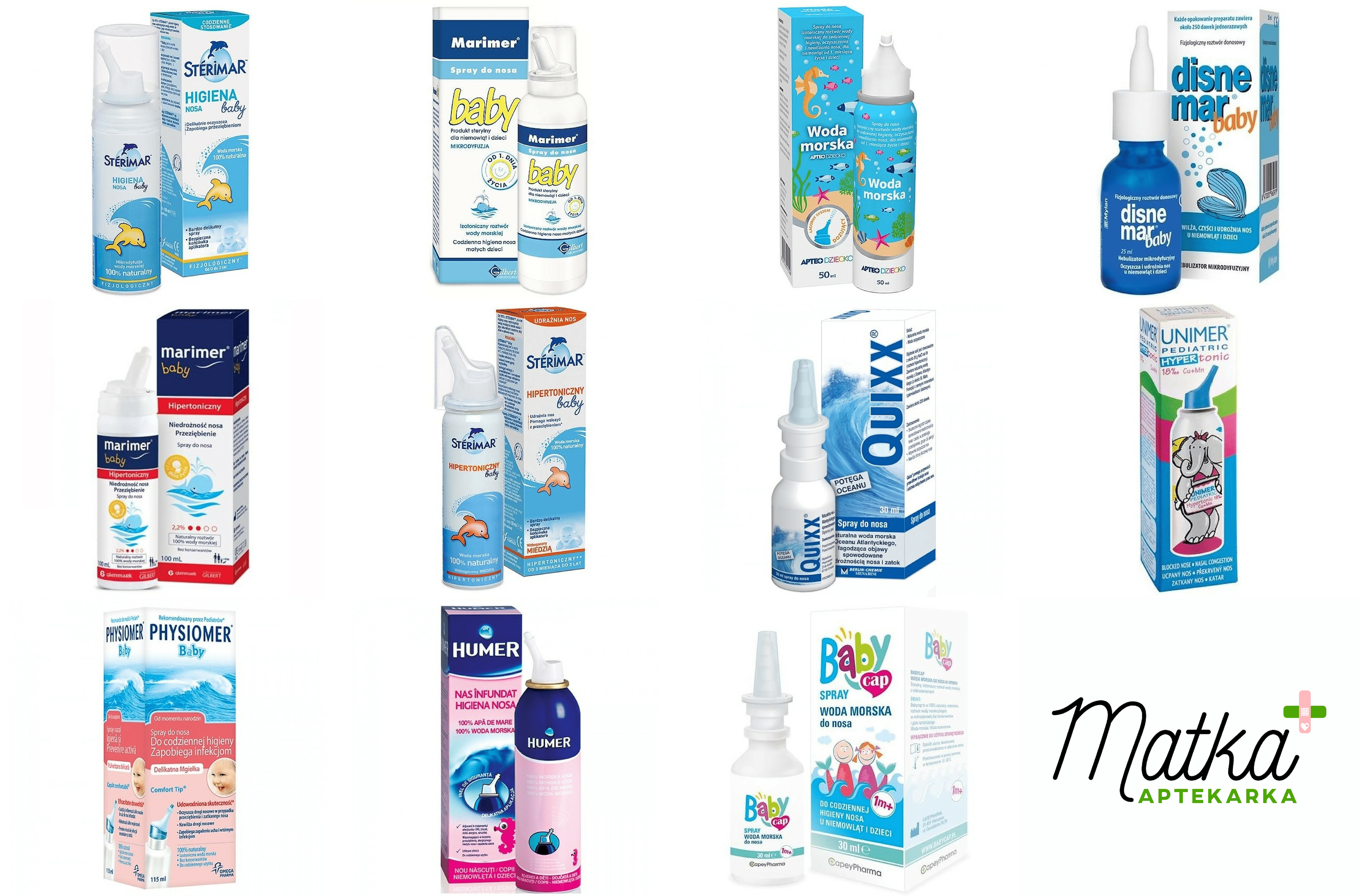 Woda morska, sól morska waerozolu donosa dla dzieci, Sterimar, Marimer, Disnemar, Unimer, Humer, NoseFrida, Matka Aptekarka