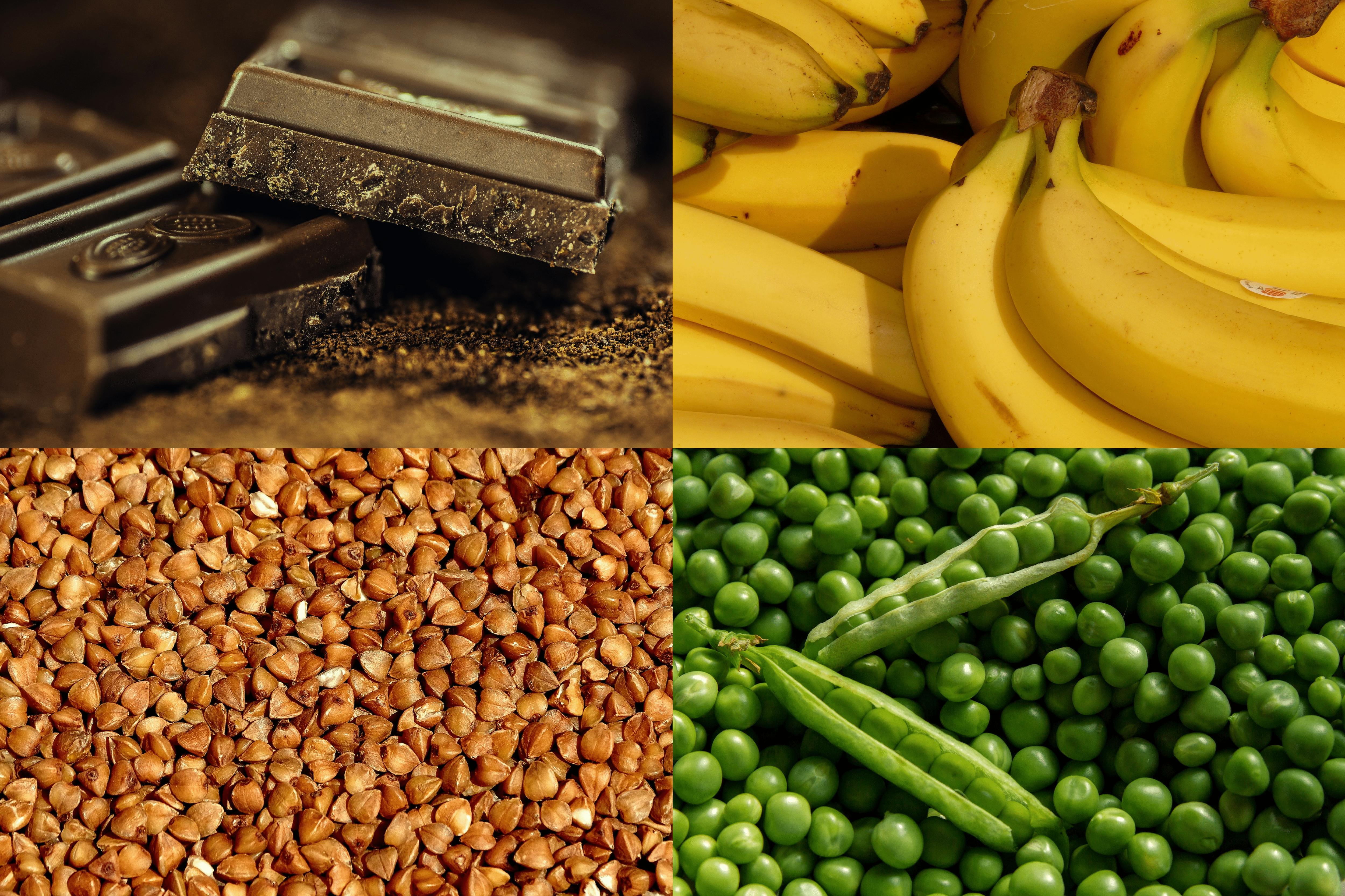 dieta bogata wmagnez, kakao, kasza gryczana, banany, groch, fasola, ciecierzyca, płatki owsiane, orzechy Matka Aptekarka