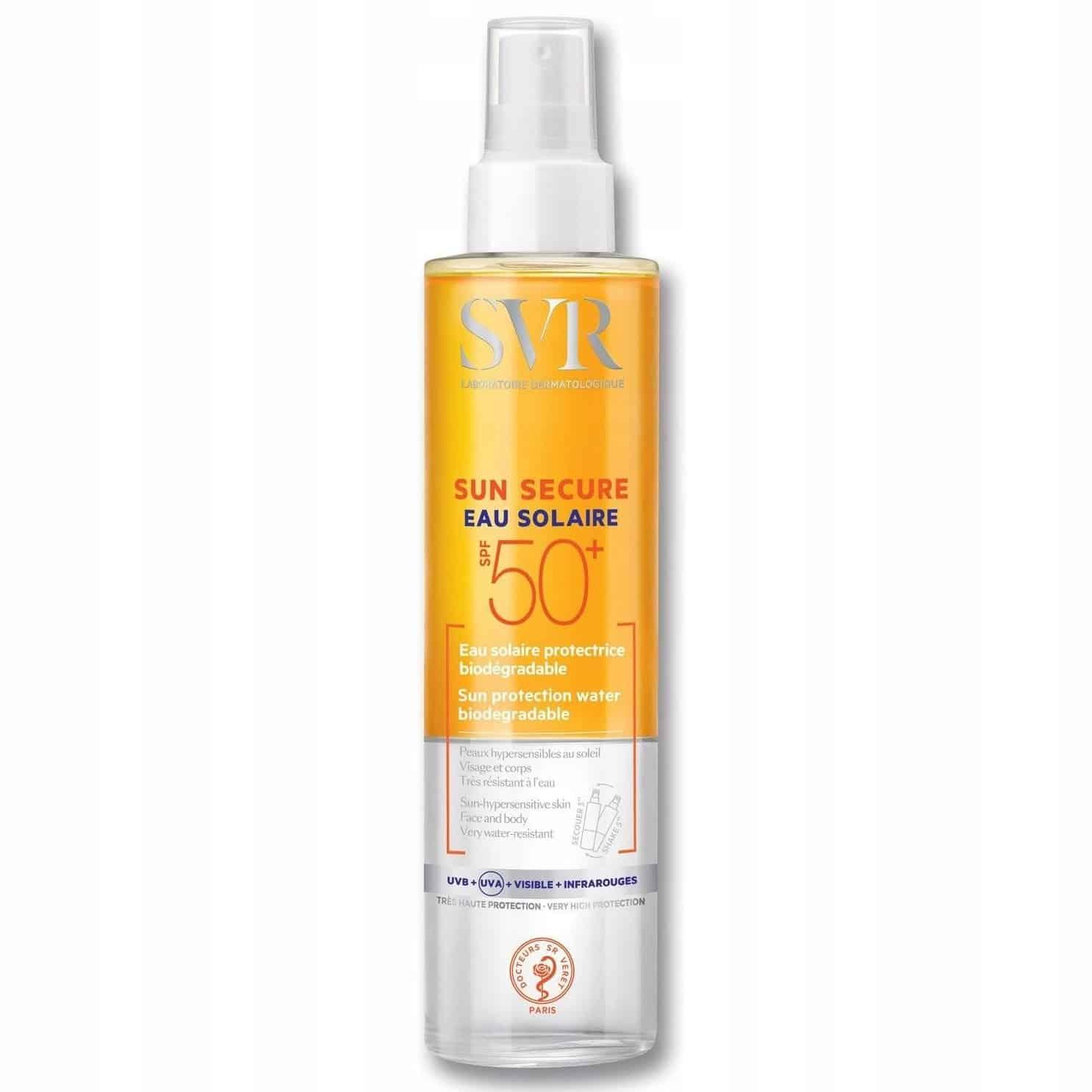 SVR Sun Secure Eau Solaire, ochronny spray przeciwsłoneczny SPF50+, Matka Aptekarka