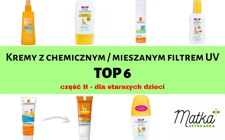 Kremy zchemicznym / mieszanym filtrem UV cz.II – dla starszych dzieci – mojeTOP 6