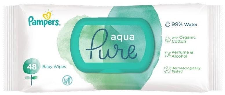 Pampers Aqua Pure, chusteczki nawilżające, Matka Aptekarka