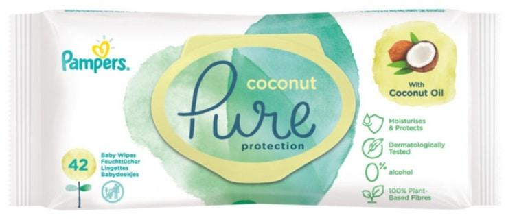 Pampers Pure Coconut, chusteczki nawilżane, Matka Aptekarka