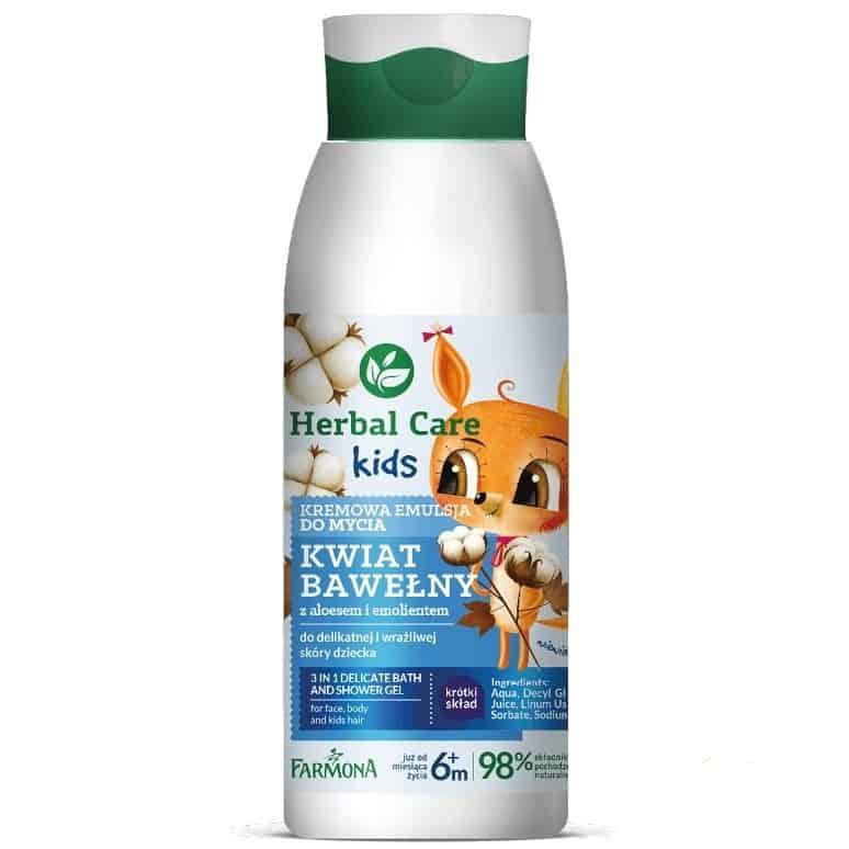 Herbal Care Kids, kremowa emulsja domycia, kwiat bawełny, Matka Aptekarka