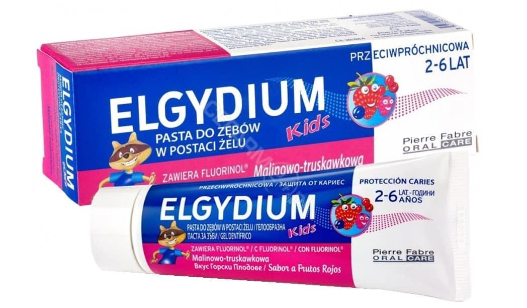 Elgydium Kids, 2-6 lat, pasta dozębów wpostaci żelu, malinowo-truskawkowa, zfluorem 1000 ppm, Matka Aptekarka