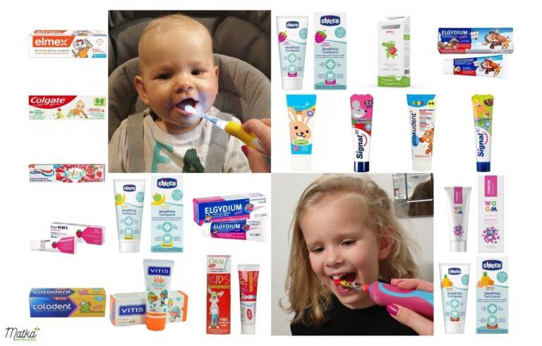 Zestawienie past do zębów dla dziecka od pierwszego ząbka do 6 lat, pasty do zębów z fluorem dla dzieci, 1000 ppm, Matka Aptekarka, blog