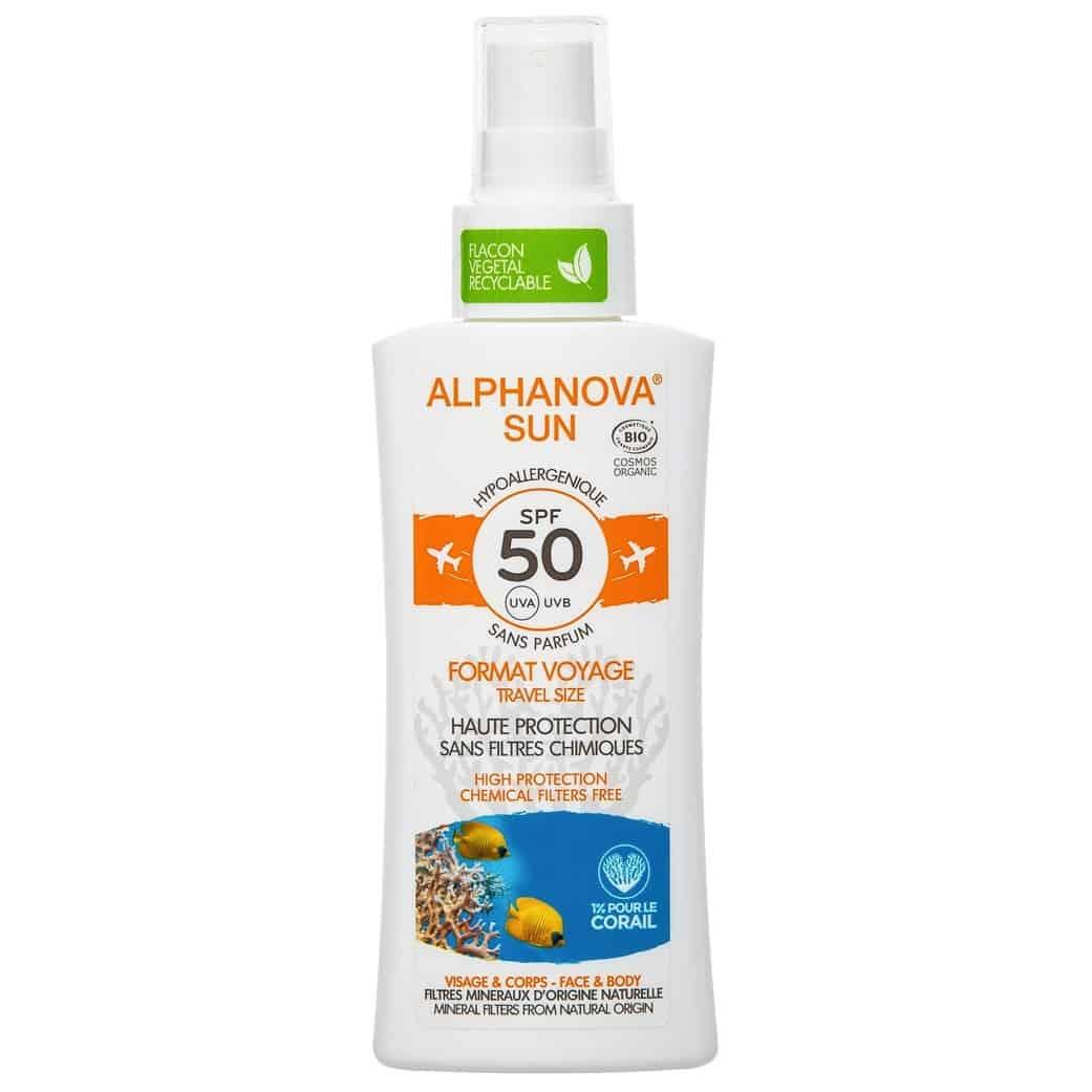 Alphanova Sun, bezzapachowy spray przeciwsłoneczny SPF 50+, Travel Size, Matka Aptekarka