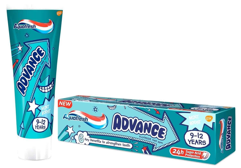 Aquafresh Advance, pasta dozębów dla dzieci 9-12 lat, zfluorem, Matka Aptekarka