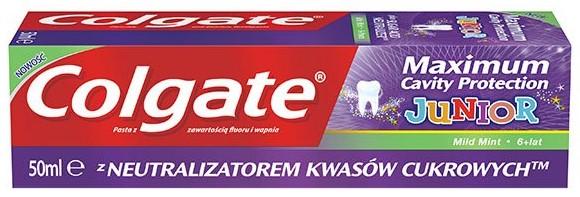 Colgate Maximum Cavity Protection Junior, pasta dozębów, zfluorem, Matka Aptekarka