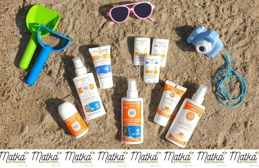 Matka Aptekarka testuje... kosmetyki przeciwsłoneczne dla dzieci idorosłych Alphanova Sun, MAtestuje