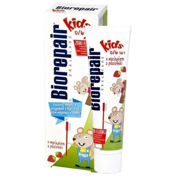 BioRepair Kids, pasta dozębów dla dzieci bezfluoru, poziomka, Matka Aptekarka