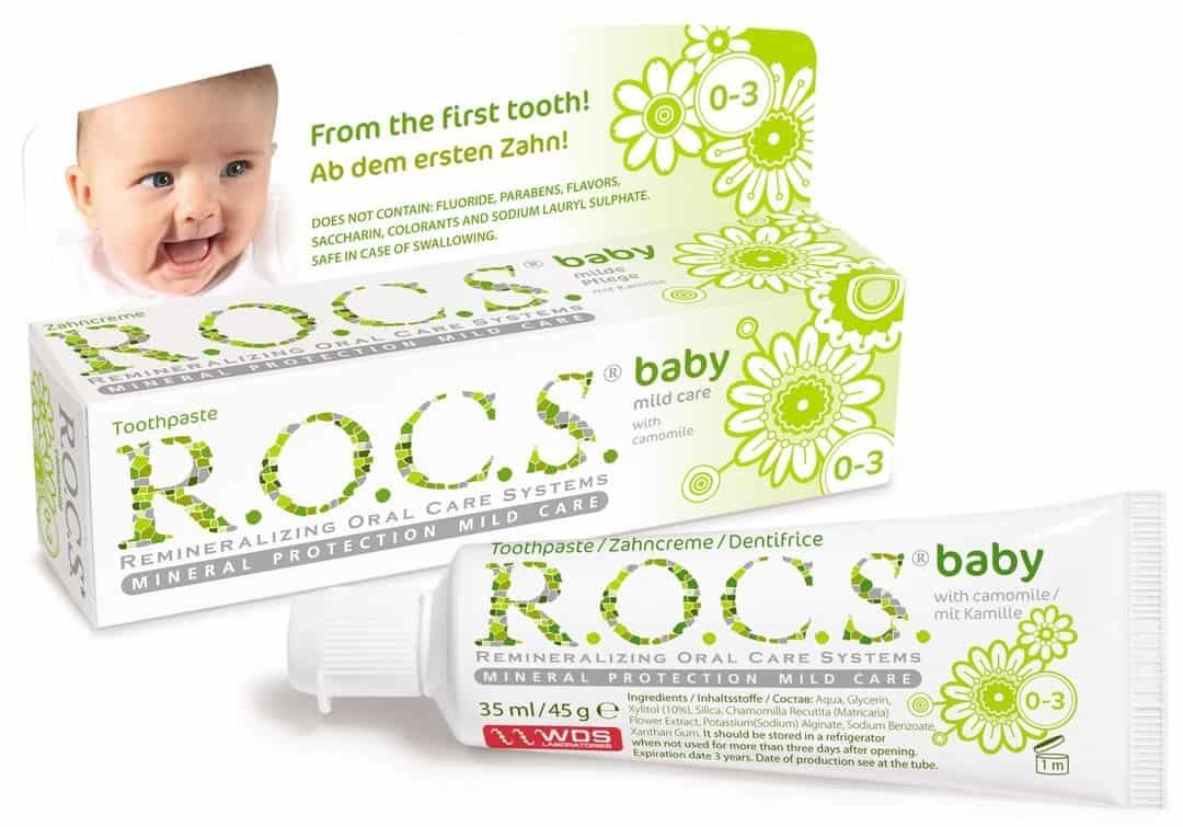 ROCS Baby, pasta dozębów bezfluoru dla dzieci 0-3 lat, rumianek, Matka Aptekarka