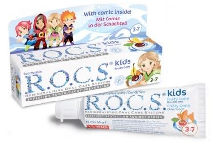 ROCS, pasta dozębów bezfluoru dla dzieci 3-7 lat, Fruity Cone, lody owocowe, Matka Aptekarka
