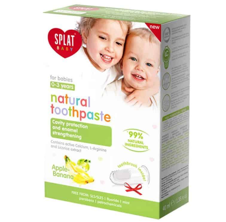 Splat Baby, bioaktywna pasta dozębów bezfluoru dla dzieci 0-3 lat, bananowo-jabłkowa, Matka Aptekarka